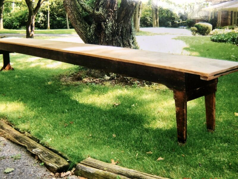 Antique Rare Shaker Work Table, 20 Feet Long
