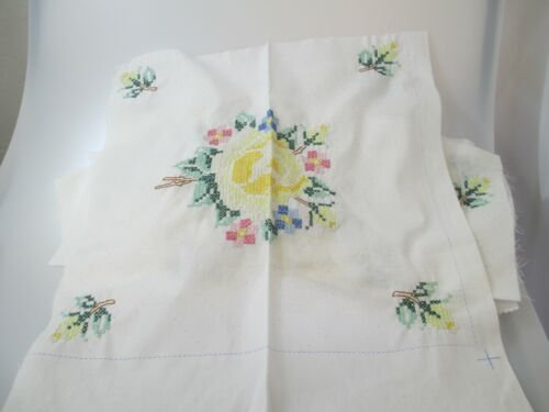 VTG 12 Cross stitch Fabric panels Roses & Rearts Partially done quilt or pillow