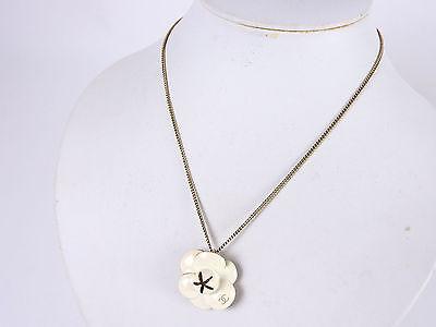 Auth CHANEL CC Logo Camellia Flower Motif Pendant Necklace White Gold 02P A-5756