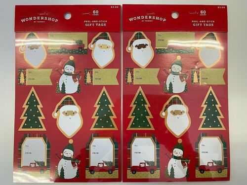2 packs (100) of xmas gift tags peel and stick presents to: from:  Santas trees