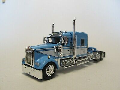 DCP 1/64 SCALE W-900 KENWORTH MIDROOF,  BLUE & WHITE, YELLOW ENGINE,
