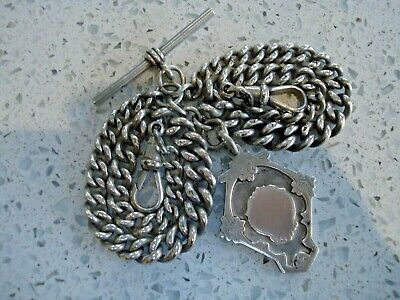 1926 Solid Silver Double Graduated Albert Pocket Watch Chain & Fob 52.4g
