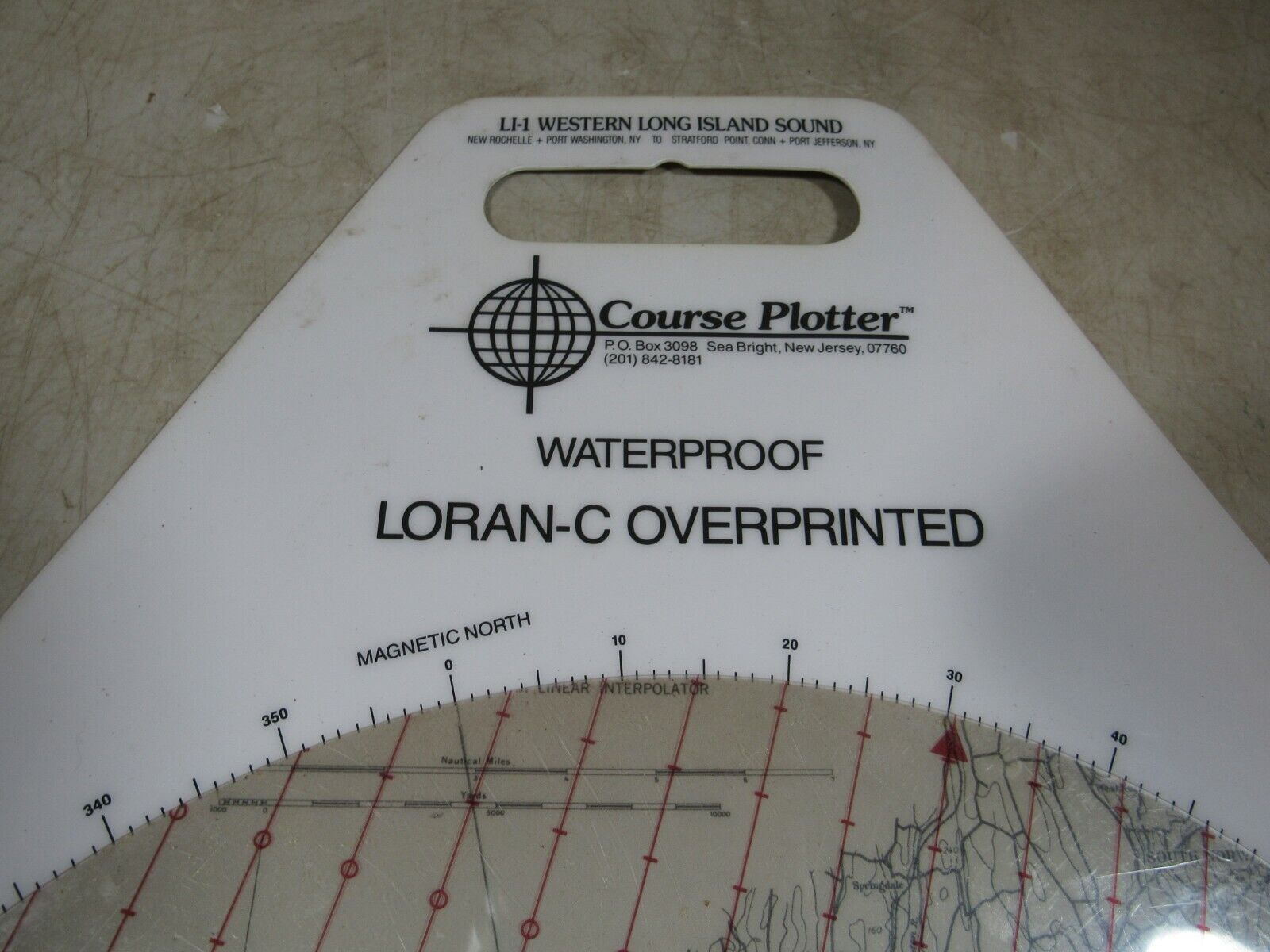 Vintage Waterproof Loran-C Overprinted Course Plotter Chart Long Island Sound
