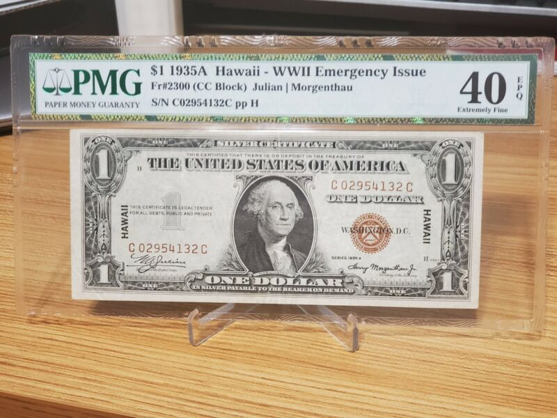 "[CC BLOCK] Series 1935A $1 Silver Certificate ""Hawaii Note"" FR2300 PMG 40 EPQ"