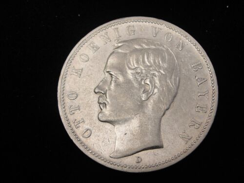 1899 D Germany Bavaria 5 Marks Silver Coin Looks XF Km #512