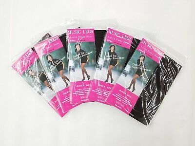 5 Packs Music Legs Lycra Control Top Support Pantyhose Size -