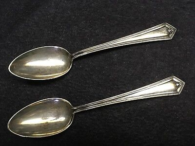"""Pair of 2 Antique Sterling Silver Spoons 5-3/4"""" Alvin No Monogram"""