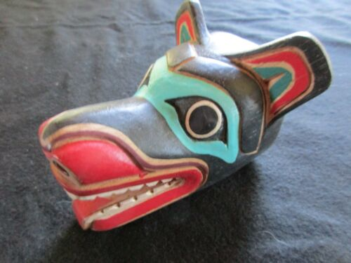 """CLASSIC NORTHWEST COAST DESIGN, """" WOLF """" CARVED WOODEN MASK,  WY-0521*05469"""