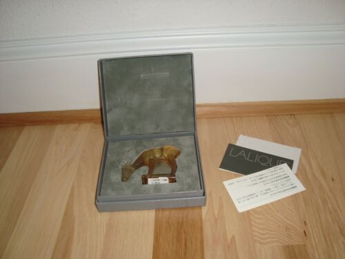 "Lalique Crystal Deer Fawn 3"" Figurine Paperweight + Box and Papers * Mint"