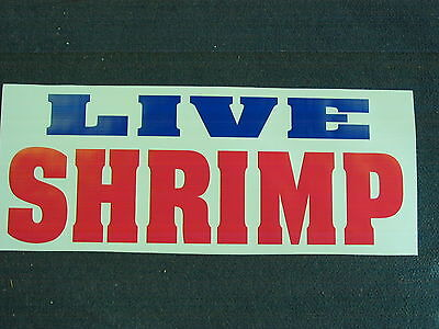 Live Shrimp Banner Sign New For Shop Delivery Restaurant Stand Cart Fresh Fish