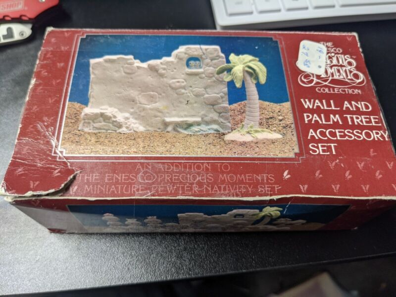 Precious Moments 1989 Wall & Palm Tree Accessory Set pewter Nativity #694630