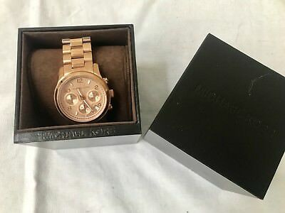 NEW! Authentic MICHAEL KORS Women's Runway Rose Gold Chrono Watch
