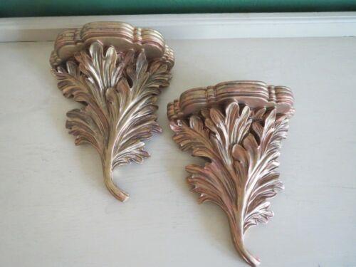 2 Cast Resin Composite Hollywood Regency Oak Leaf Wall Shelf Sconces ca. 20th c.