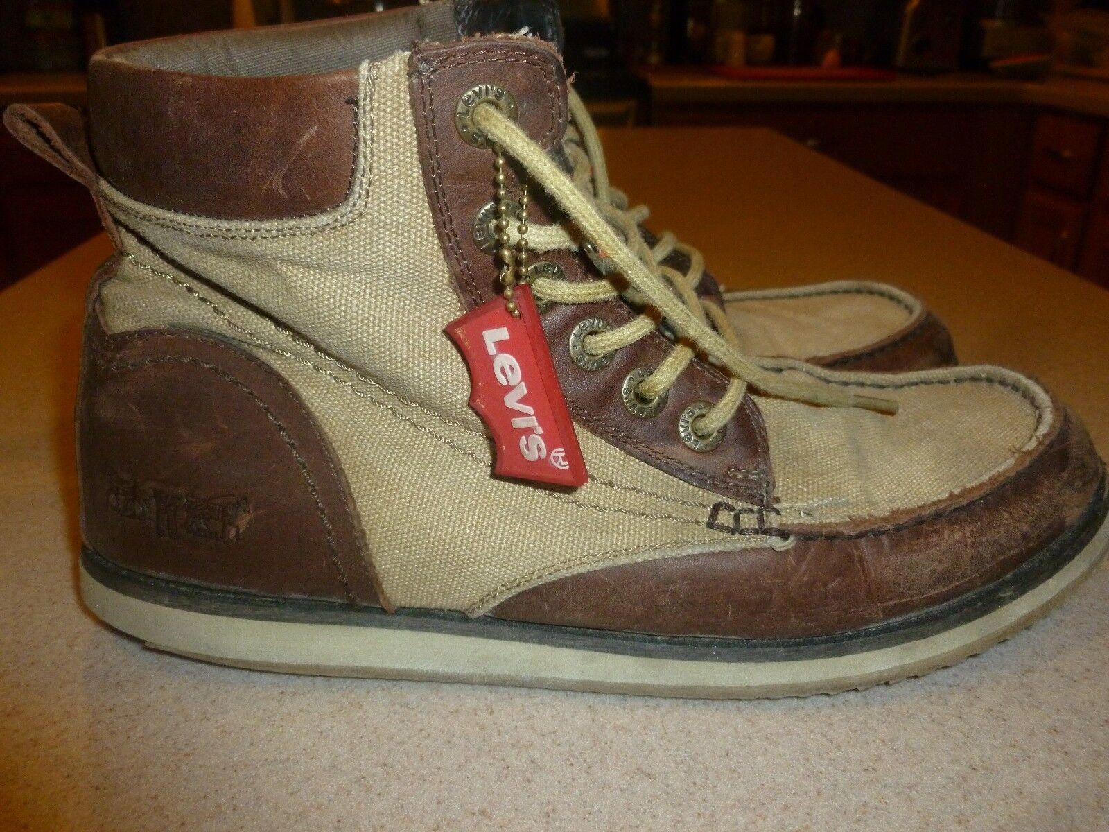 Vintage Levis Canvas & Leather Boots Shoes Mens sz