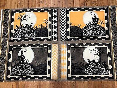 Come Sit a Spell Halloween cotton 4 Placemats fabric panel - Halloween 4 Panel