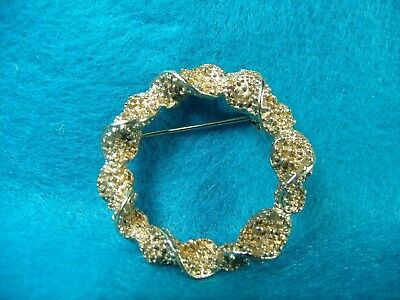 Vintage Mid Century Gold Tone EMMONS Twist Wreath Brooch Pin