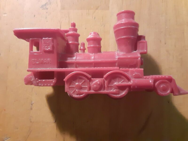 Vintage ELMAR Red Plastic Toy Balloon Powered Whistle Train Engine