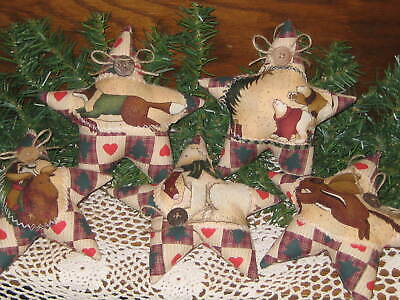 5 Rustic Christmas Stars Tree Ornaments Country Home Decor Wreath Accents  - $21.95