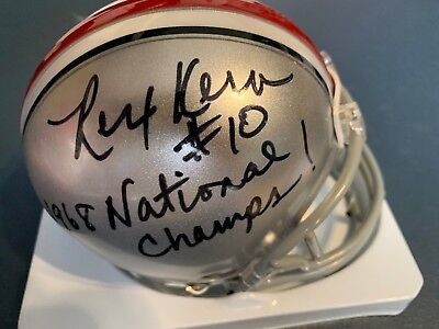 (REX KERN  OHIO STATE BUCKEYES 68 NATIONAL CHAMPS  JSA SIGNED RIDDELL MINI HELMET)