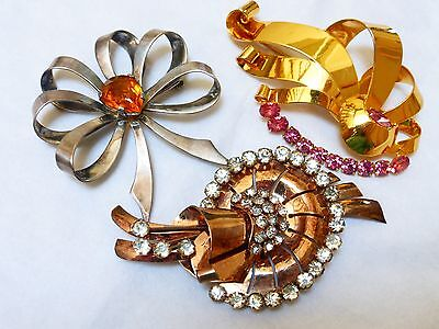 Vintage Large Sterling Silver Rhinestone Brooch Pin, Lot of 3, All Marked