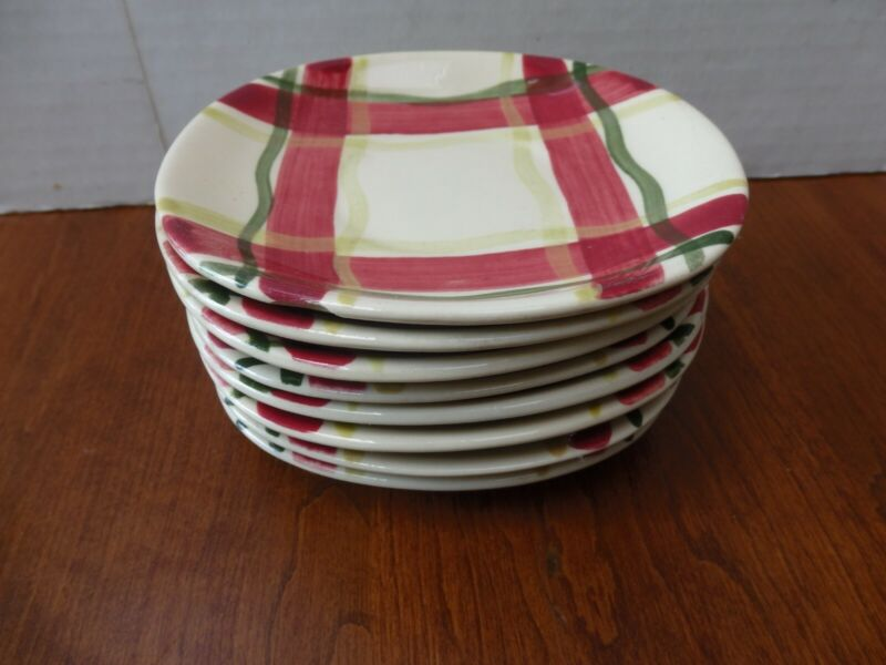 "8 Vintage Mid-Century Purinton Slipware Normandy Plaid Oval Saucers 5 x 5 1/4"""