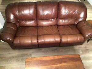 Real Brown Leather Recliner Sofa