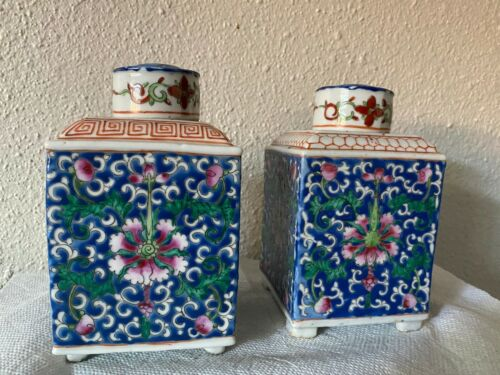 BEAUTIFUL PAIR CHINESE ENAMELED FAMILLE ROSE PORCELAIN TEA CADDIES WITH LIDS