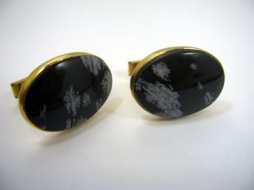 Vintage Cufflinks Cuff Links: Beautiful Black & White Accents Gold Tone Setting