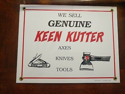 """1960's Keen Kutter Genuine Axes Knives Tools Porcelain AAA Sign Co. 8.5"""" x 11"""""""