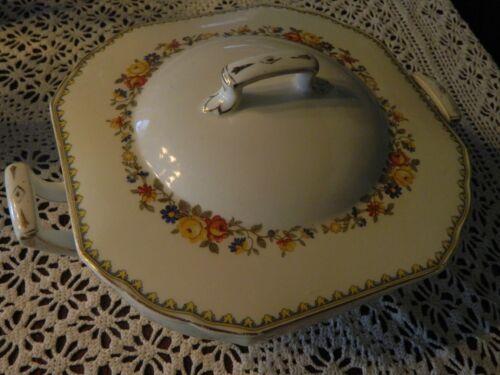 Vintage W H Grindley Ivory Covered Lidded Vegetable Dish Marked England 39 Gold
