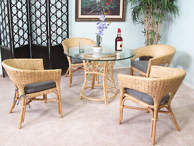 Natural Rattan & Wicker Dining Room Furniture 5 Piece Set (4-Chairs and 1-Table) - Natural 5 Piece Dining Room