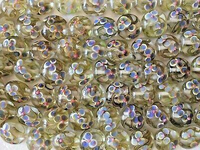 15 Handmade Lampwork Glass Lentil Beads Flower Swirl Design Disc w/ Bumpy Dots -