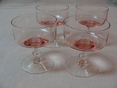 4 Vintage Crystal Sherbet Champagne Glasses Cups Bowls Pink Clear Stem & Base.