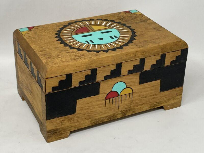 Steven Oomva Harris Native American Kachina Artist -Signed Carved Cottonwood Box
