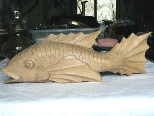 "Vintage Hand Carved Wooden Koi Fish 19"" Long"