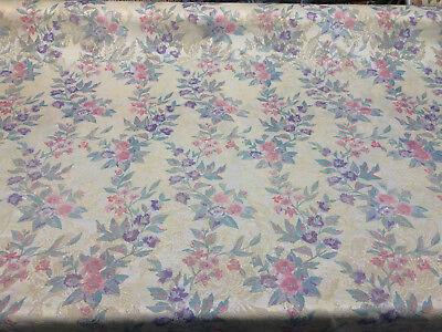 Vintage Brocade Print Beige Purple Fabric By The Yard