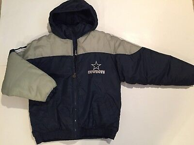 Youth NFL Genuine Stuff Dallas Cowboys Sewn Logo Hooded Nylon Jacket Sz - Cowboy Stuff