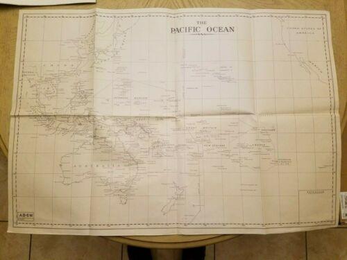 RARE 1941 WWII OFFICIAL AB6W Australia Army AAB Pacific Ocean Strategy Map MARKS