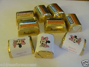60 Personalized Baby Minnie Mouse Candy Hershey Nugget Labels Wrappers