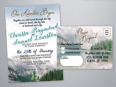 Mountain Wedding Invitations Hiking Outdoor Adventure Hiker Invitation Set of 40 - Outdoor Wedding Invitations