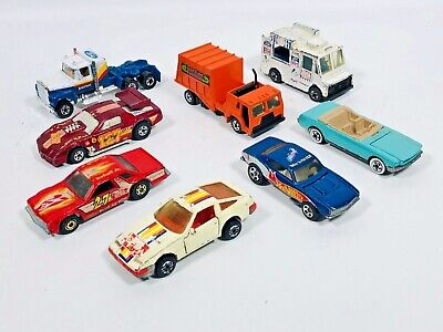 1980s HOT WHEELS DIECAST CAR TRUCK LOT OF 8 MALAYSIA FORD CHEVY
