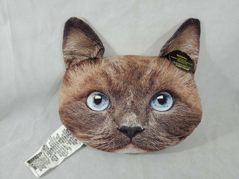 "NWT Almar Expressions Plush Pillow RAGDOLL Cat Face Pillow Throw 15 x 13"""