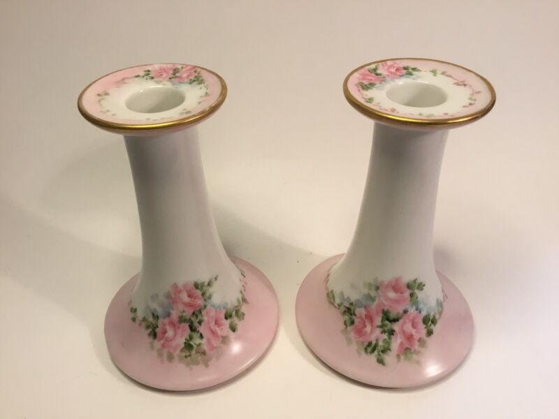 Antique French Handpainted Candlestick Holder Pair Artist Signed c.1909-1938
