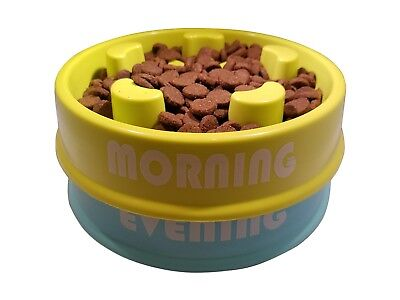 Slow Eating Bowl Dog (or Cat) Feeding Reminder System - 2 Bowls **BLOWOUT SALE**
