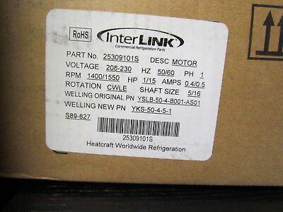 INTERLINK Part No: 25309101S Evaporator Fan Motor 1/15 HP New In Box