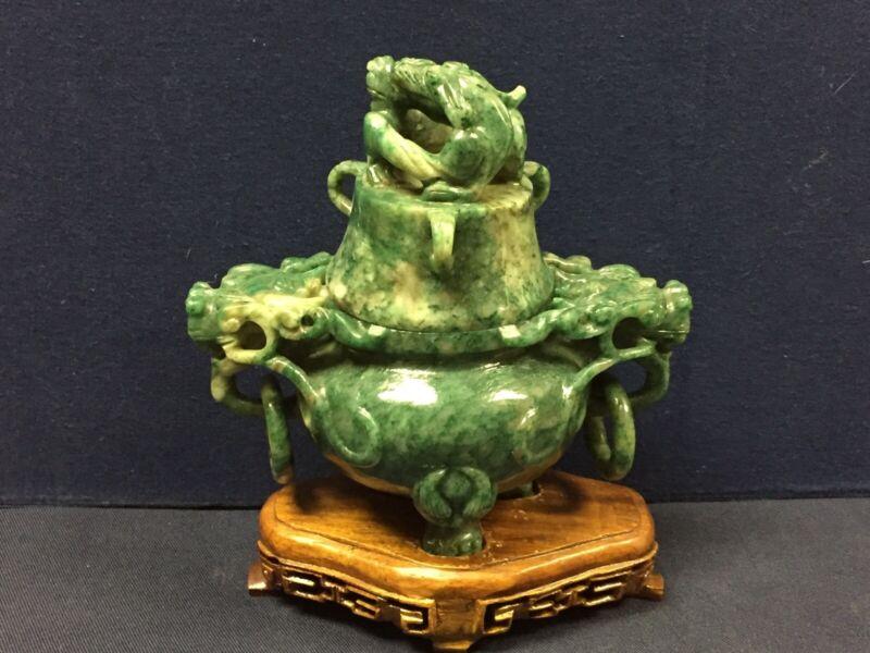 Chinese carved jade incense burner, dragon decoration.