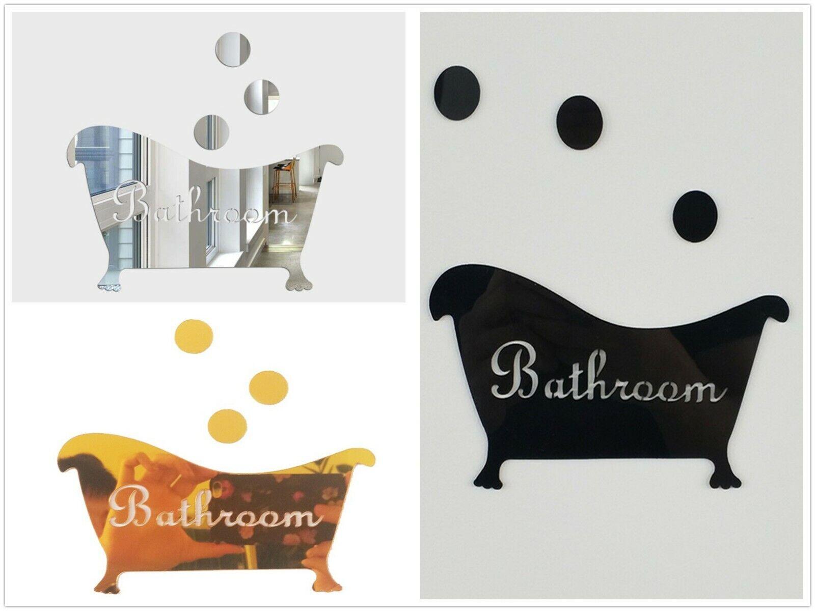 3D acrylic bathtub shape Mirror Wall Stickers for bathroom w