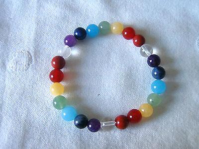 ***Edelstein-Chakra-Armband aus 3 X 7 Steinen getrennt durch Bergkristall-Perlen