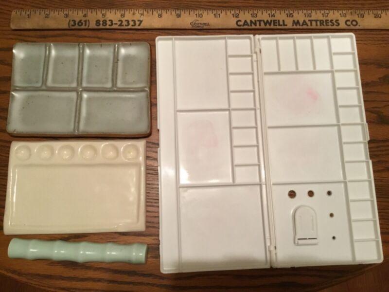 2 Handmade Ceramic Paint Palettes + BONUS plastic palette & brush rest