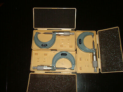 Lot Of 3 Mitutoyo 112-201 Vernier Micrometer Calipers 30 Degree Point 0-25mm
